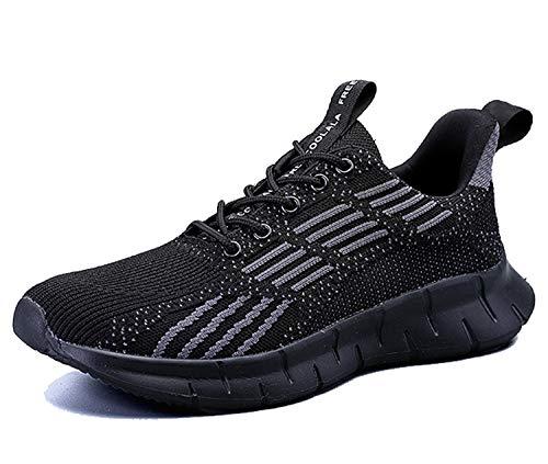 AX BOXING Herren Damen Sportschuhe Laufschuhe Sneaker Atmungsaktiv Leichte Wanderschuhe Trainers Schuhe Größe 40-46 (Schwarz A, Numeric_43)