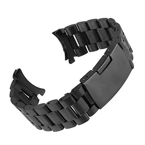 Beauty7 20mm Schwarz Edelstahl Uhrenarmband Uhrenarmbänder mit Faltschließe Metall Uhr Armband