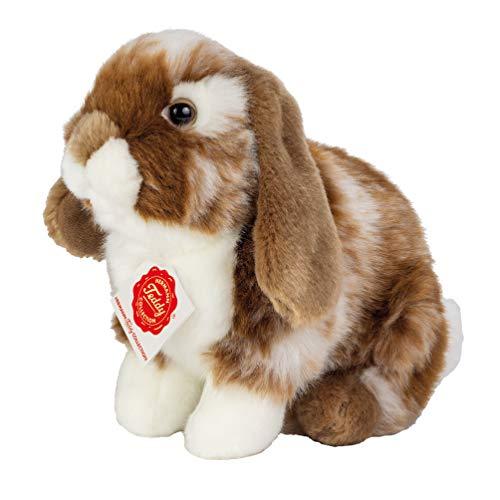 Teddy Hermann 93724 Hase Widder-Kaninchen sitzend Dunkelbraun/weiß gescheckt 20 cm, Kuscheltier, Plüschtier