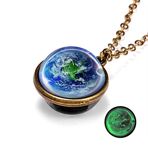 Galaxy System Star Necklace Double Sided Glass Dome Planet Pendant for Women,Unine Glow In The Dark Earth Choker Necklace, Romantic Jewelry Gifts for Her Girlfriend Grils (K)