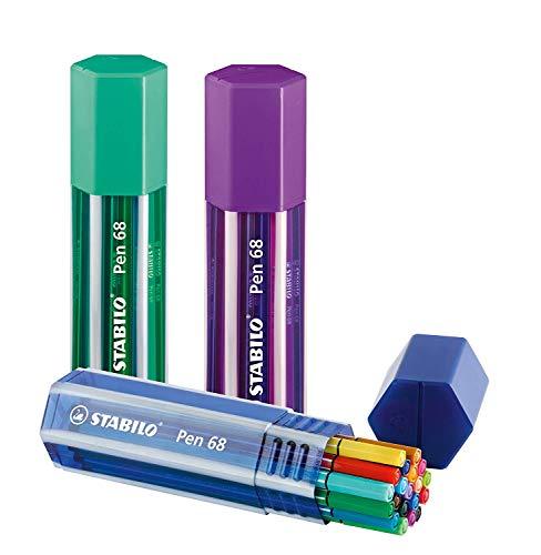 Caneta Stabilo com 68 canetas grandes de ponta de feltro premium – cores sortidas, pacote com 20