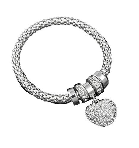 Equilibrium Silver Diamante Heart Charm Bracelet