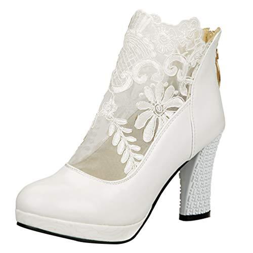 LUXMAX Damen Weiße Stiefeletten Hochzeit High Heels Ankle Boots mit Blockabsatz Spitze Brautschuhe Weiß 38