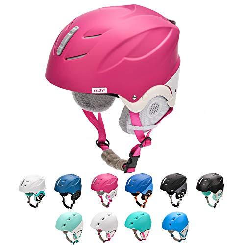 meteor Skihelm Snowboard Helm Herren Ski Helmet fur Erwachsene und Kinder-Skihelm Damen (M 55-58 cm, LUMI Rosa-weiß)