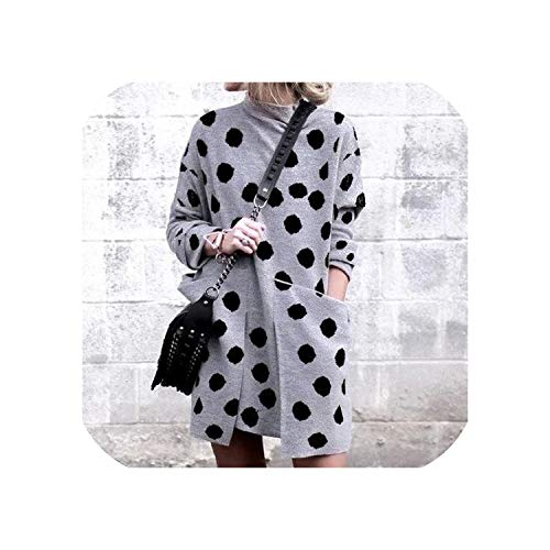 Women Elegant Long Sleeve Autumn Winter Dress Sexy Pocket Mini Dress,04 Polka Dot Gray,L