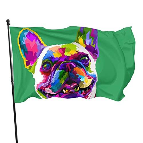 GOSMAO Bandera de jardín Bulldog francés Color Vivo y Resistente a la decoloración UV Bandera de Patio de Doble Costura Bandera de Temporada Banderas de Pared 150X90cm