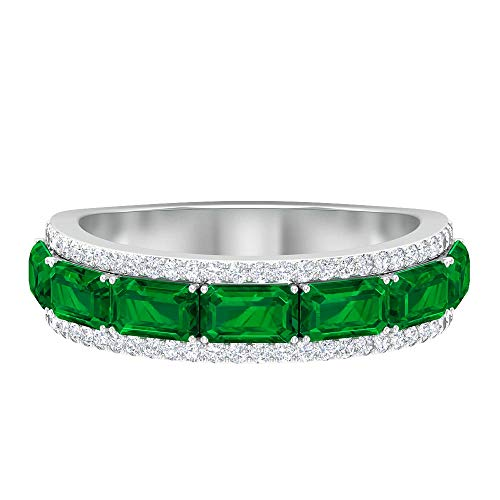 Rosec Jewels 14 quilates oro blanco round-brilliant-shape Octagone H-I Green Diamond Emerald