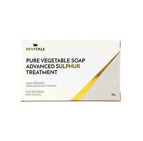 Revitale Tratamiento de jabón de azufre puro vegetal avanzado, 80 g, antibacteriano, ayuda a combatir puntos negros, manchas, irritación de la piel