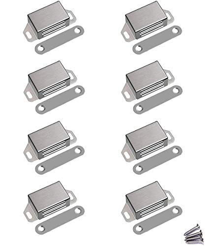 WOOCH Magnetic Door Catch  25lb High Magnetic Stainless Steel Heavy Duty Catch for Kitchen Bathroom Cupboard Wardrobe Closet Closures Cabinet Door Drawer Latch 21 in Silver 8Pack