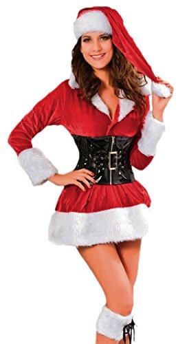 Fragolina dolcecuore loft - Babbo Natale con vestito donna general-case Natale cappello in peluche con riporto in vernice sui gnaulm, rosso, 36-40
