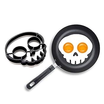 Egg Pancake Ring Shaper Cooking Tool,Breakfast Omelette Mold,Halloween Horror Skull Fried Egg Mold,Creative Cartoon Shaped Egg Ring,3
