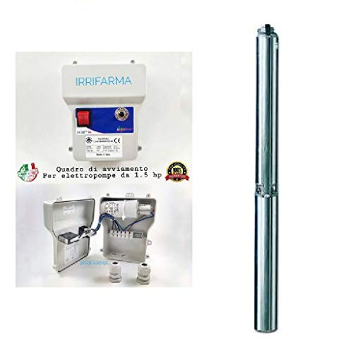 Elettropompa Sommersa Lowara 4GS11M, Pompa per Pozzi, 1.5 hp, 1.1 Kw, Monofase, in Acciaio Inox, 90 l/min, prevalenza 84 metri