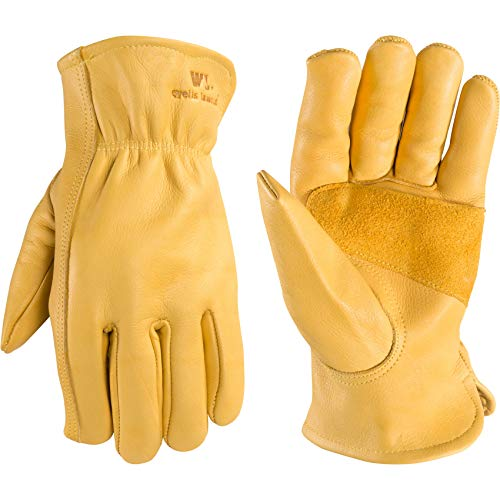 Men's Reinforced Leather Work Gloves with Palm Patch, Large (Wells Lamont 1129)