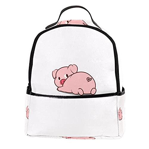 ATOMO Mini mochila casual cerdo lindo acostado cuero de la PU bolsas de compras Daypacks