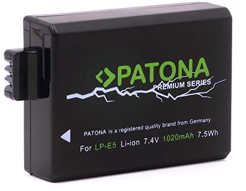Patona Premium Akku - Ersatz für Akku Canon LP-E5 (echte 1020mAh) zu Canon EOS 450D 500D 1000D