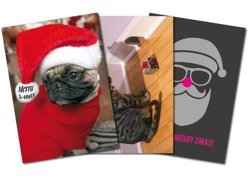 Confezione da 3: cartoline A6+ + + Mix Set n. 1di Modern Times + + + 3motivi divertenti a Natale International + + + perfetta per Post Crossing + + + senza testo tedesco.