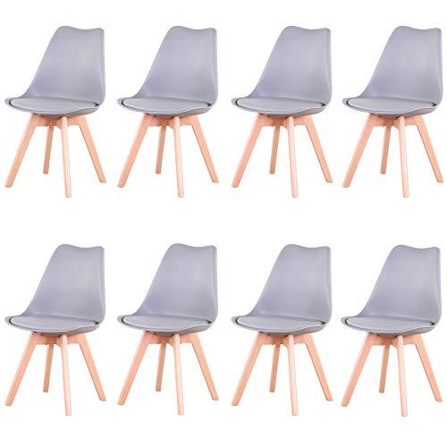 Uderkiny Conjunto de 4/6 sillas Sillas de Comedor con Cojines y Patas de Haya aptas para Comedor salón Cocina Oficina, etc (Gris-8)