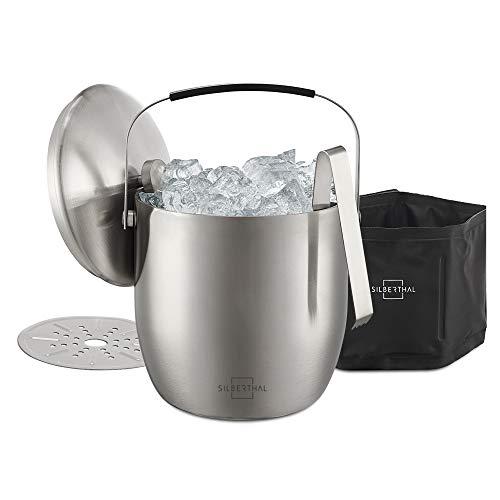 SILBERTHAL Eiswürfelbehälter mit Deckel und Zange - Edelstahl - Doppelwandig Isoliert - Extra Kühlung mit Kühlmanschette - Eiseimer 3L