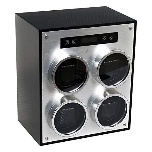 Watch storage box Vierköpfige Luxusuhrenvitrine mit automatischem Aufzug, 4 separaten transparenten Fenstern, Abnehmbarer Uhrenmatte und intelligenter Touchscreen-Uhrenbox