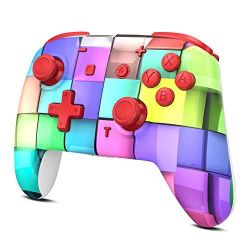REDSTORM Controller Gamepad Controller Wireless per Nintendo Switch, Controller PRO Switch con Bluetooth/Doppia Vibrazione/6 Assi/Batteria Durevole per Switch/Switch Lite/PC(Disegno Cubo Colorato)