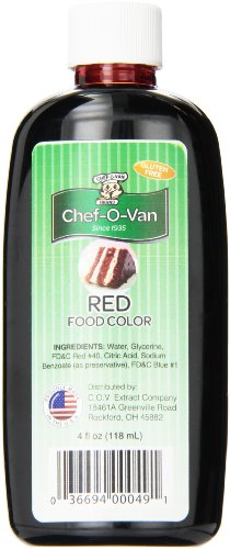 Chef-O-Van Food Coloring, Red, 4 Ounce
