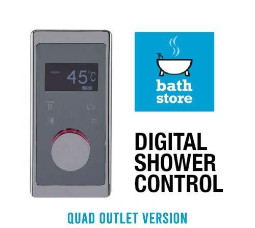 Bathstore Assure Digitales Duschpaneel mit Temperaturwechsel, Farbwechsel, V18, silberfarben, erhältlich in Einzel-, Doppel- oder vier Ausgängen