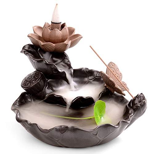 Mayco Bell Quemador de incienso de reflujo para decoración del hogar con forma de mariposa de cerámica de loto, soporte de incienso budista