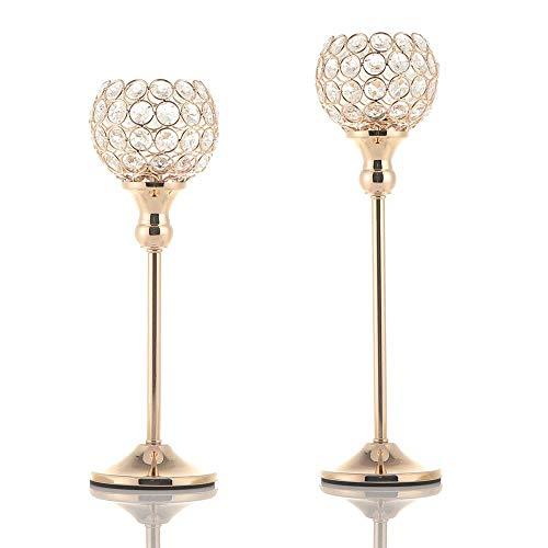 VINCIGANT Kerzenhalter Kristall Gold, Kerzenständer Gold, Wohnzimmer deko, 33cm&38cm Höhe