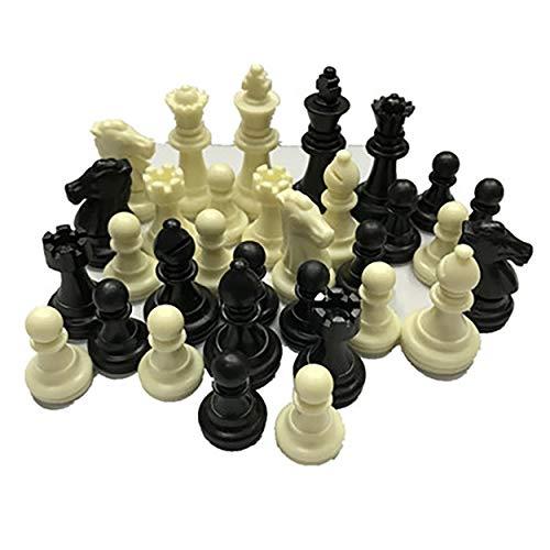 Lodenlli Piezas de ajedrez Medievales/Plástico Completo Chessmen International Word Juego de ajedrez Entretenimiento Blanco y Negro