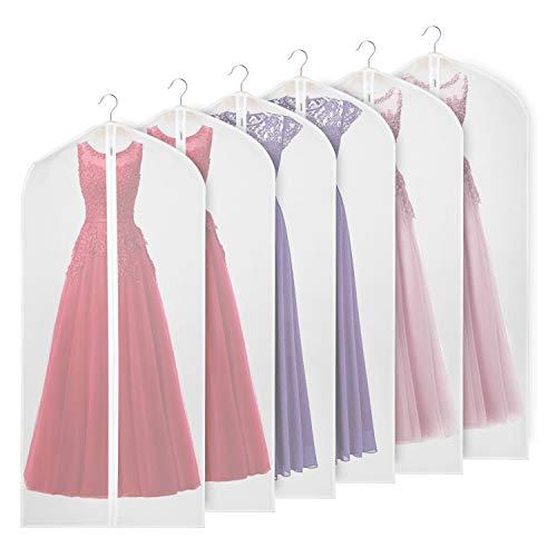 Univivi Garment Bag 60 inch Suit Bag for Storage (Set of 6), Foldable Washable Clear Lightweight Garment Bags for Long Dress Dance Costumes Suits Gowns Coats (60cm*152cm)