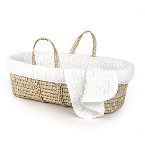 Tadpoles Deluxe Cable Knit Moses Basket and Bedding Set, White