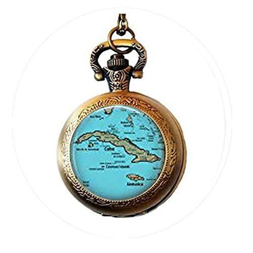 Retro-Kuba-Kartenschmuck – optionaler Kompass-Anhänger – Karibische Karte – Taschenuhr-Halskette mit Bibelzitat Anhänger