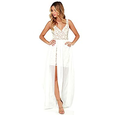 Blooming Jelly Women's Sexy Plunging Deep V Neck Lace Bodycon Dress Zipper Tank Flowy Summer Maxi Dress(S, White)