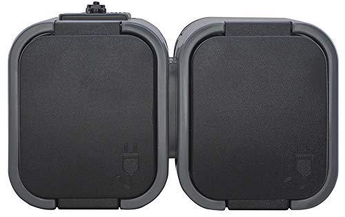 IP54 Aufputz Steckdose Schuko 1,2,3-fach Ein/Ausschalter Serienschalter Wechselschalter Taster Feuchtraum Grau-Schwarz (Steckdose Schuko 2-fach)