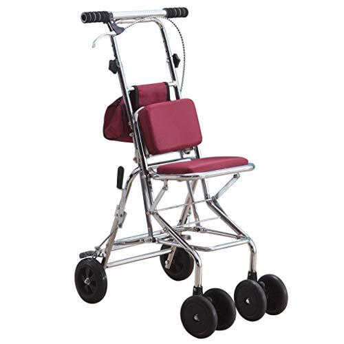 Carritos de la compra Andador Plegable Caminante Auxiliar Muletas del Carro Puede Sentarse Se Puede soportar Peso 120 kg Enviar Cestas de la c