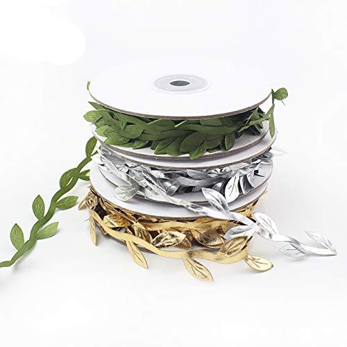 junao 3 Pieces Artificial Leaf Plant Ribbons, Artificial Satin Fake Leaf Ribbon Christmas, Artificial Olive Leaf Ribbon Silk, for Making Bracelet, Garland, Dress Decoration, Green, Gold, Silver