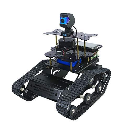Raspberry Pi 4B AI Roboterkit mit Laserradar ROS SLAM Smart Auto DIY Panzer Robotik Kit Karten erstellen, Autonome Navigation, Objekterkennungsverfolgung, Folgen (Schwarz, Raspberry Pi 4B 4GB)