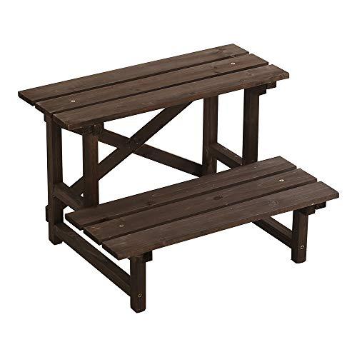 木製2段ガーデンラック【ramiras-ラミラス-】ダークブラウン