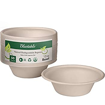 Paper Bowls Disposable 12 oz Bulk - Good For Hot Soup Chili - Compostable Biodegradable Bowl – Made from 100% Sugarcane Eco Friendly Bagasse Bowls Natural [50 Pack]