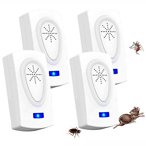 Repelente Ultrasónico, 2020 Nuevo Plagas Control Interiores, Insectos Antimosquitos Eléctrico Extra Fuerte para Interiores - Insectos, Hormigas, Cucarachas, Ratones, Ratas, Roedores (4-Pack)