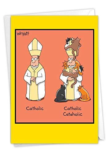 NobleWorks, Catholic Cataholic - Hilarious Cat Religious Birthday Card - Colorful Cartoon Comic, Pet Cats Card for Birthdays C7324BDG