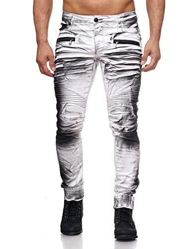 KINGZ Herren Jeans 1372-2 White Black 33
