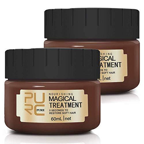 2 Pack Magical Treatment Haarmaske 5 Sekunden zur Reparatur von Geschädigtem Haar, Professioneller Haarpflegespülung mit Molekularen Haarwurzeln - 60ml
