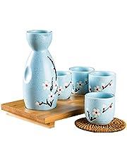 Osuter 5PCS Juego de Sake Japones Set Tradicional Elegante Botella Sake Tazas de Cerámica para Uso Doméstico y Comercial