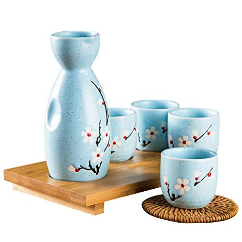 Osuter 5PCS Sake Set Japanisch Sake Flasche Keramik Handgemalte Keramikbecher für Partys Familien Geschäftsräume