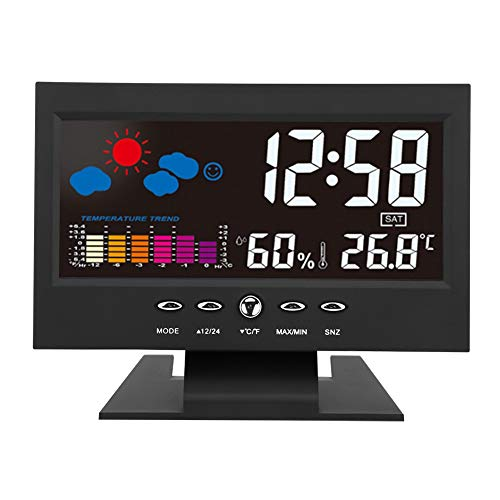 Raguso Termómetro Reloj Despertador Medidor de Temperatura Ambiente preciso Monitor de Humedad con Reloj Despertador Pantalla LCD para el hogar