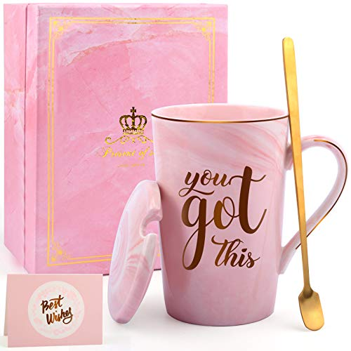 Inspirational Gifts for Women, You Got This Mug, Birthday Gifts and Encouragement Gift for Her, Best Positive Present for Friends, New Mom, Daughter, Coworkers, Ceramic Marble Coffee Mugs 14oz Pink