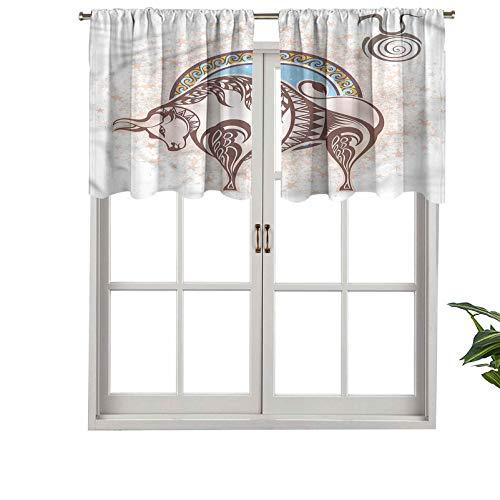 Hiiiman - Cortinas opacas con bolsillo para barra de taurus icono astrología, juego de 1, 132 x 45 cm, pequeñas cenefas de ventana para cocina