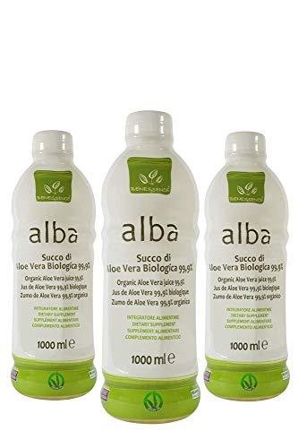 Benessence - Succo Bio di Aloe Vera Biologica 99,9% - 3 bottiglie da 1 litro.