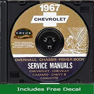 1967 Chevy Chevrolet Chevelle Camaro El Camino Corvette Chevy II Impala Repair Shop Service Manual CD GM 67 (with Decal)